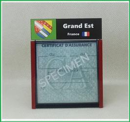 ( R06 )   Un Porte certificat d'assurance ou CT. Région Grand Est  (fond noir ou transparent)