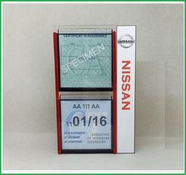 NISSAN.   Un Porte certificats double pour assurance et CT avec logo Nissan  (fond noir ou transparent)