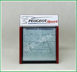 ( DM004 )   Un Porte certificat d'assurance ou CT auto avec dessin Peugeot Sport  (fond noir ou transparent)