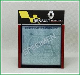 ( DM014 )   Un Porte certificat d'assurance ou CT auto avec dessin  Renault sport  (fond noir ou transparent)