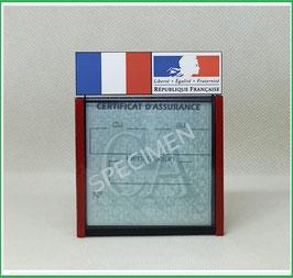 ( DV004 )   Un Porte certificat d'assurance ou CT auto avec dessin Drapeau France Marianne (fond noir ou transparent)