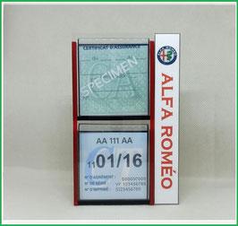 ALFA ROMEO.  Un Porte certificats double pour assurance et CT avec logo Alfa Roméo  (fond noir ou transparent)