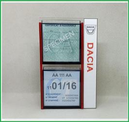 DACIA.   Un Porte certificats double pour assurance et CT avec logo Dacia  (fond noir ou transparent)