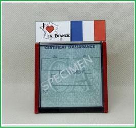 ( DV007 )   Un Porte certificat d'assurance ou CT auto avec dessin  France j'Aime  (fond noir ou transparent)