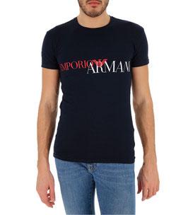EMPORIO ARMANI T-Shirt Cotone Stretch Maglietta Uomo a Manica Corta BLU Scollo Rotondo Big Logo Frontale Bianco Rosso