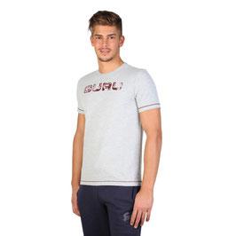 Guru T-Shirt Mod. JEGTS1550 a Manica Corta Grigio Chiaro o Scuro con Logo Guru Rosso Davanti