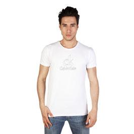 CK Calvin Klein Jeans T-Shirt Uomo Manica Corta Girocollo con Logo BIANCA o NERA |KMP47A|