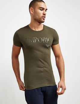 """EMPORIO ARMANI T-Shirt """"MILITARY"""" Maglietta Uomo a Manica Corta Scollo a V Scritta in Gel in Elegante Scatola"""