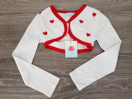 BLUMARINE Baby Coprispalle Bianco con Bordi e Cuori Rossi |26 G 7775|