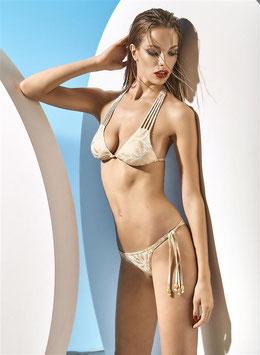 nuovo concetto 6c75c bd56f PARAH Bikini GOLD AND SAND Coppe Push-Up a Triangolo con Laccetti e Perline  Dorate + Brasiliana