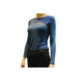 TWIN SET Lingerie Maglia T-Shirt Blu o Cipria con Inserto Centrale in Pizzo |TS-IA4WAA|