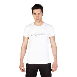CK Calvin Klein Jeans T-Shirt Uomo Manica Corta Girocollo Bianca con Logo |KMP42A|