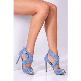 b0d3fe4de1 GUESS Azali Leather Sandals Sandali in Pelle Azzurri Tacco a Spillo 11 cm
