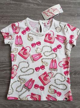 MISS GRANT Maglia T-Shirt Girocollo Bianca Stampa a Fantasia con Strass |06 M 4722 5448|
