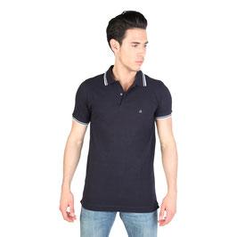 CK Calvin Klein Jeans T-Shirt Maglia Polo Uomo Maniche Corte Blu Scuro con Logo |KMP25A|
