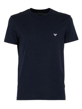 EMPORIO ARMANI T-Shirt Cotone Stretch Maglietta Uomo a Manica Corta Scollo Rotondo con Logo Frontale Grigio