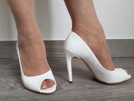 VIA STUDIO Decollete Spuntate Open Toe in Vernice Bianche Tacco Alto a Stiletto 11 cm  VS-2160 