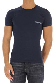 EMPORIO ARMANI T-Shirt Cotone Stretch Maglietta Uomo a Manica Corta Scollo Rotondo con Scritta Logo Frontale