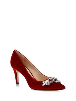 GUESS Eland Velvet Shoes Decolllete a Punta in Velluto Rosso con Gioiello Strass Tacco 8,5 cm