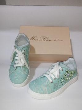 BLUMARINE Baby Scarpe Sneakers Basse Verde Acquamarina in Vera Pelle con Lavorazione in Pizzo Ricamato e Strass |B5473|