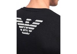 EMPORIO ARMANI T-Shirt Cotone Stretch Maglietta Uomo a Manica Corta Scollo Rotondo con Logo Frontale Argento + Big Eagle