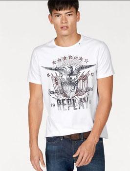 REPLAY Maglietta T-Shirt Bianca o Blu Navy in Cotone Scollo Rotondo con Stampa e Logo Frontale |RP-330021|