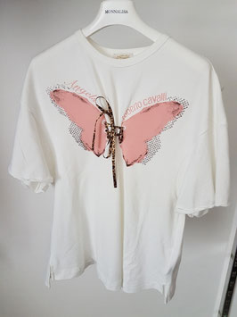 ROBERTO CAVALLI Angels T-Shirt Bianca con Farfalla Rosa e Strass |RC-05476|
