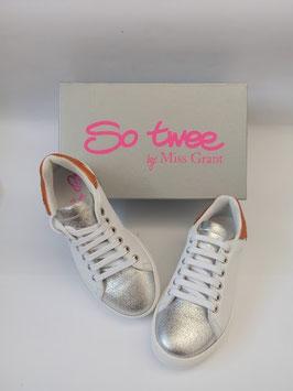 So Twee by MISS GRANT Scarpe Sneakers Basse in Vera Pelle Bambina / Ragazza Bianche / Silver Versione Santorini |S3SN0011|