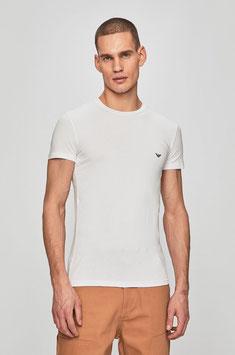 EMPORIO ARMANI T-Shirt Cotone Stretch Maglietta Uomo a Manica Corta Bianca Scollo Rotondo con Logo Eagle