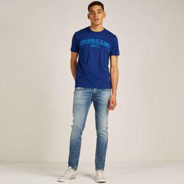 REPLAY Maglietta T-Shirt Blu in Cotone Scollo Rotondo con Logo Grande Frontale |RP-864122|