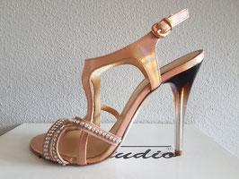 VIA STUDIO Sandali Gioiello Laminati Rosa con Cinturino alla Caviglia Tacco Alto 11 cm Trasparente e Nero  VS-4602 