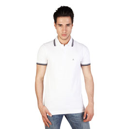 CK Calvin Klein Jeans T-Shirt Maglia Polo Uomo Maniche Corte Bianca con Logo |KMP25A|