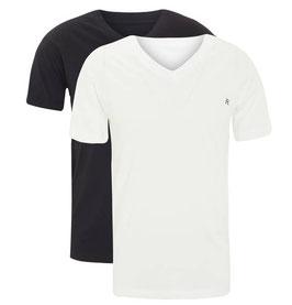 REPLAY Confezione Bipack 2 T-Shirt in Cotone Stretch Scollatura a V con Logo
