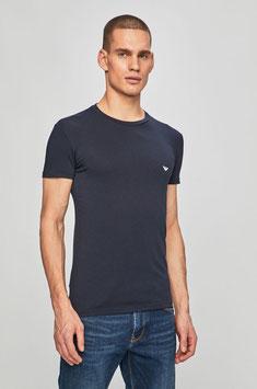 EMPORIO ARMANI T-Shirt Cotone Stretch Maglietta Uomo a Manica Corta BLU Scollo Rotondo con Logo Eagle Celeste