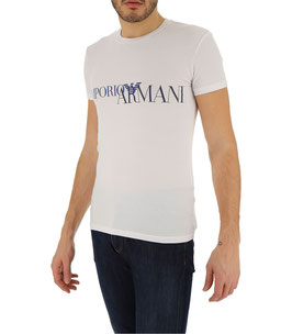 EMPORIO ARMANI T-Shirt Cotone Stretch Maglietta Uomo a Manica Corta Bianca Scollo Rotondo Big Logo Frontale Nero Blu