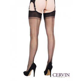CERVIN Paris - Calze Bicolore NERE di Nylon Velate Vintage RHT Seduction Couture 15 Denari con Riga