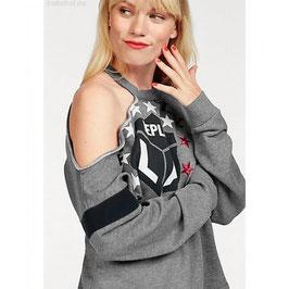 REPLAY Felpa Donna Grigio Melange con Stampa e Logo in Cotone Forma Dritta con Spacco sulla Spalla  RP-811161 