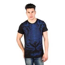 Just Cavalli T-Shirt Uomo Manica Corta a Girocollo Nera con Stampa a Fantasia |15GRMCA44|