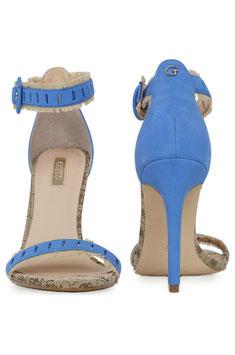 new products 5a45d 00c77 GUESS Petra Fringe Sandals Sandali con Frange Bicolore Blu e Rosa a Punta  Tacco 10 cm