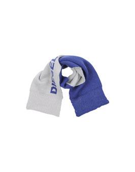 DIESEL Sciarpa Corta Mod. Rubif Grigio e Blu con Logo Stampato 122x19