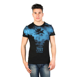 Just Cavalli T-Shirt Uomo Manica Corta Girocollo Nera con Stampa e Logo Blu |15GRMCC44|