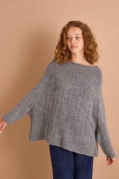 Ponchosweater med rätstickningsmönster