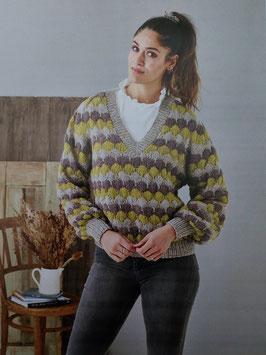 V-ringad sweater med sjömansbubblor