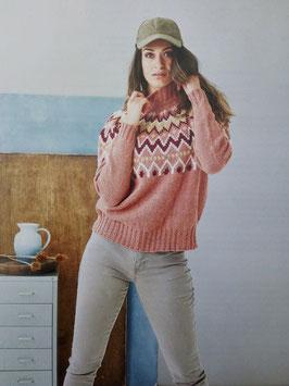 Lätt lös sweater med mönstrat ok