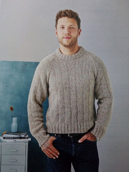 Herrsweater med tvärgående ränder i resår