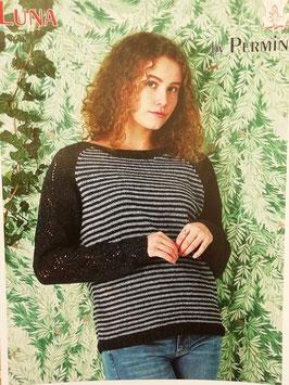 Lätt lös sweater med hålmönster och ränder