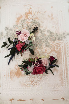 Brautset: Haarkamm und Bräutigam Anstecker - Anna