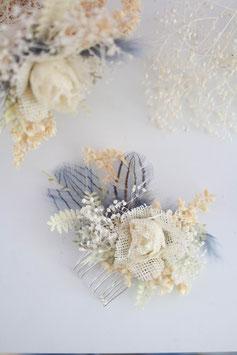 Haarkamm - Feder Hellblau (Trockenblumen)