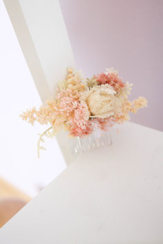 Haarkamm - Rosa ( Trockenblumen)
