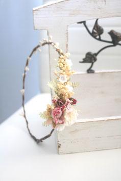 Haarkranz - Vintage rosa/weiß